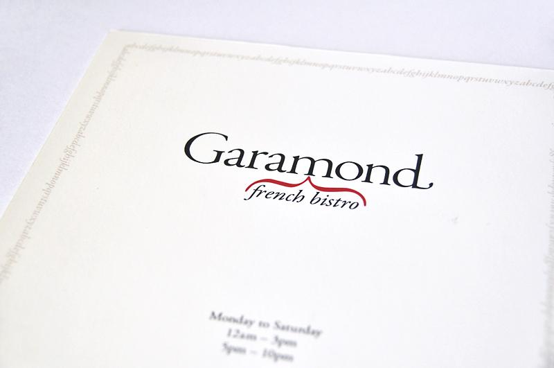 Garamond Menu
