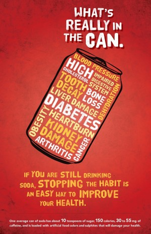 Poster design to raise awareness about soda health risks